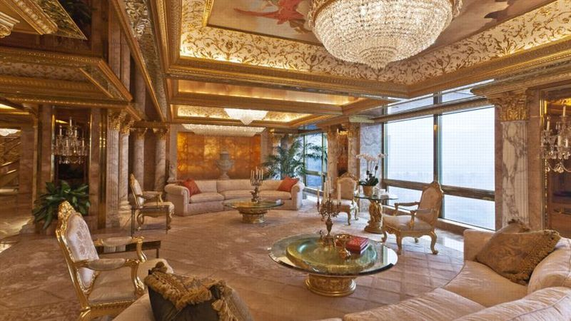Floor-to-Ceiling Marble Decorates President-Elect Trump's NYC Home